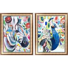 "SKRYUIE 2 Pack 5D Diamond Painting Colorful Zebra & Peafowl Full Drill Paint with Diamond Art, Animal Peacock DIY Painting by Number Kit Embroidery Rhinestone Home Decor 30x40cm (12""x16"")"