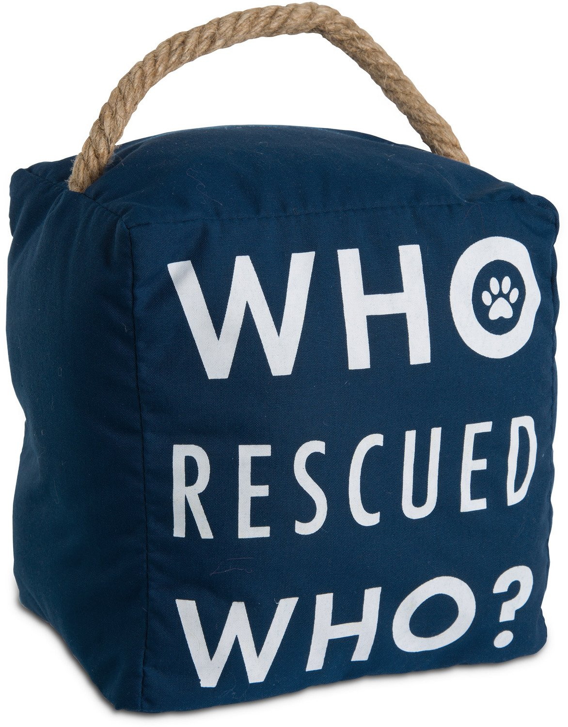 Pavilion Gift Company Open Door Decor - Who Rescued Who? Pet Animal Lover Navy Door Stopper with Handle