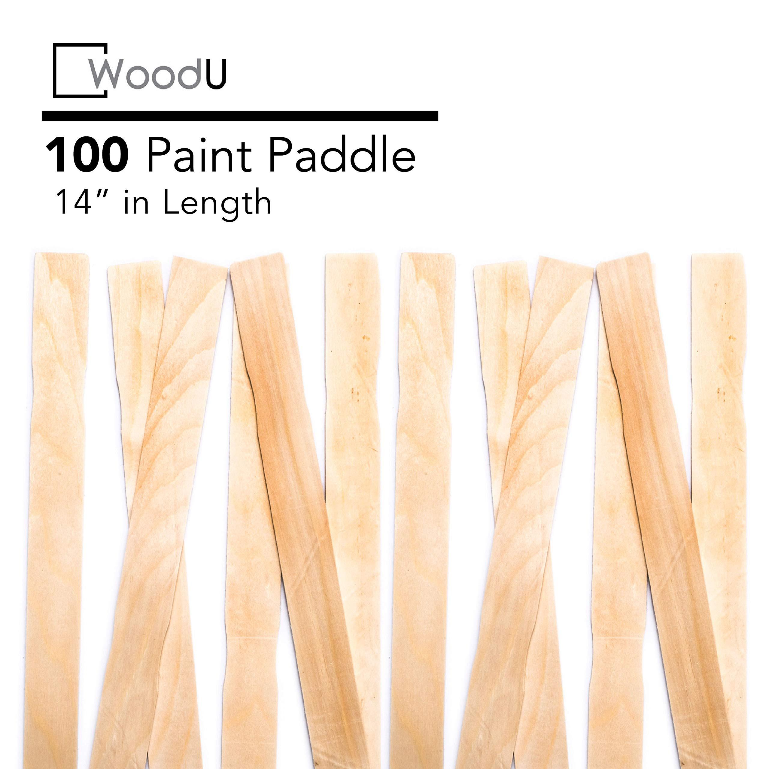 "Wooden Paint Stir Sticks 14"" Bulk Pack 100pc, DIY Paint Paddles for Mixing Paint and Other Liquids"