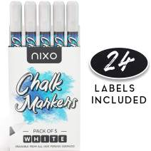 NIXO White Chalk Markers Erasable with BOLD White Chalk Ink, Ideal for Chalkboard, Glass and Pantry Labels, 6mm Reversible Chisel and Round Tip [PACK OF 5]