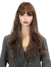 MUYUHU Long Wavy Blond Wig with Bangs Silky Full Heat Resistant Synthetic Wigs for Women - Natural Looking E girl style Honey Brown Colorful Wigs for Cosplay Daily Wearing Party