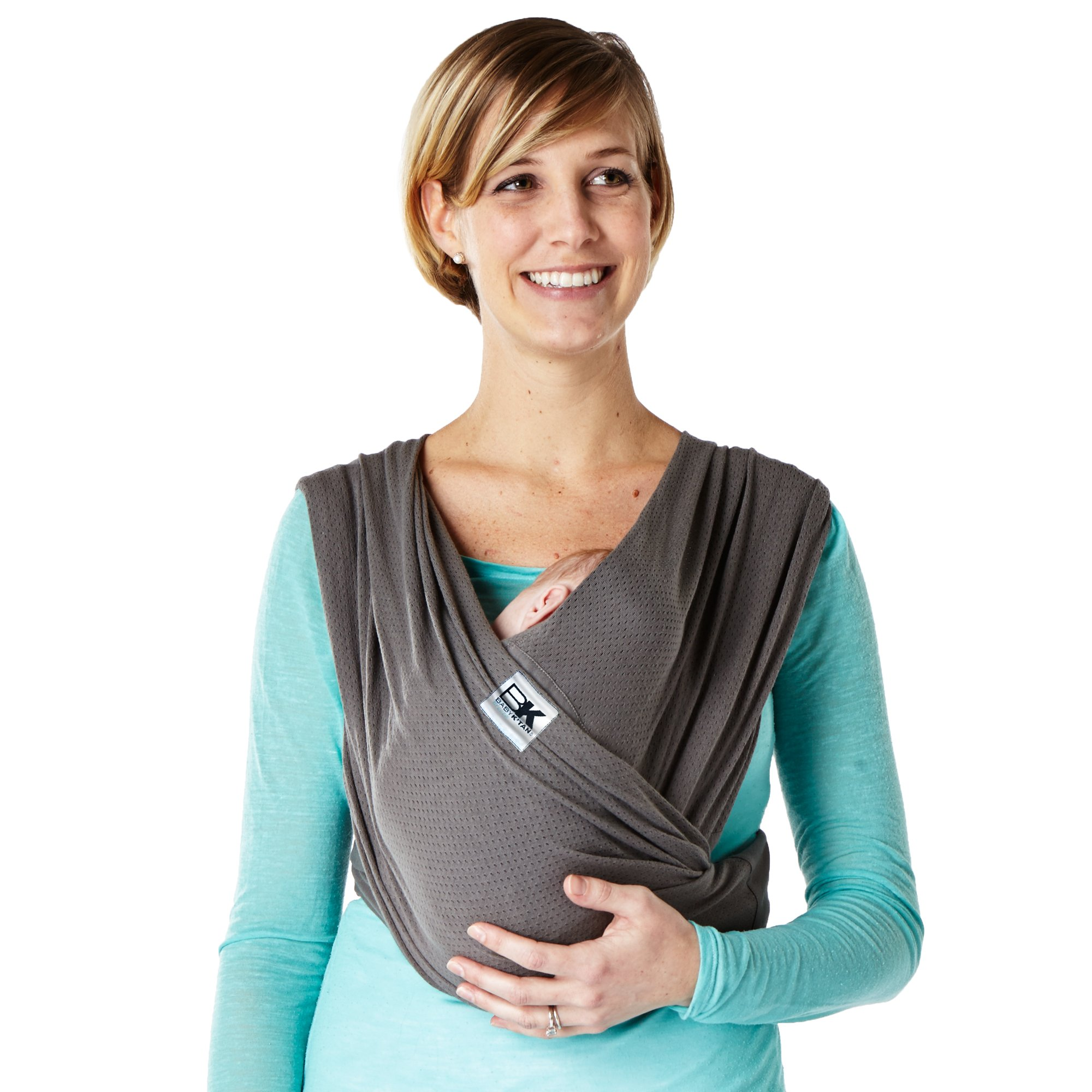 Baby K'tan Breeze Baby Wrap Carrier, Infant and Child Sling - Simple Wrap Holder for Babywearing - No Rings or Buckles - Carry Newborn up to 35 lbs, Charcoal, Large (W Dress 16-20 / M Jacket 43-46)