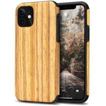 Tasikar Compatible with iPhone 11 Case Easy Grip Wood Grain Design Compatible with iPhone 11 (Teak)