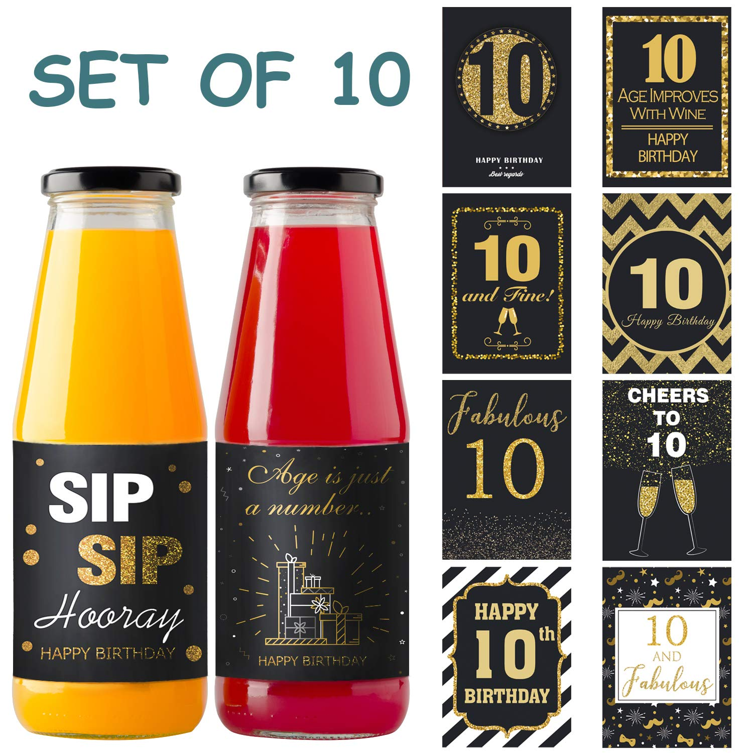 Happy 10th Birthday Juice Bottle Labels Stickers Gold and Black Cheer to 10 Years Party Decorations Supplies Set of 20