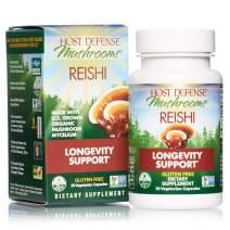 Host Defense, Reishi Capsules, Supports General Wellness and Vitality, Daily Mushroom Mycelium Supplement, USDA Organic, 30 Vegetarian Capsules (15 Servings)