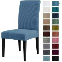 CHUN YI Dining Chair Covers Stretch Jacquard Slipcovers Anti-Stain Removable Washable Parsons Chair Protector for Dining Room Banquet Ceremony Wedding Party Hotel Restaurant(2,Denim Blue)