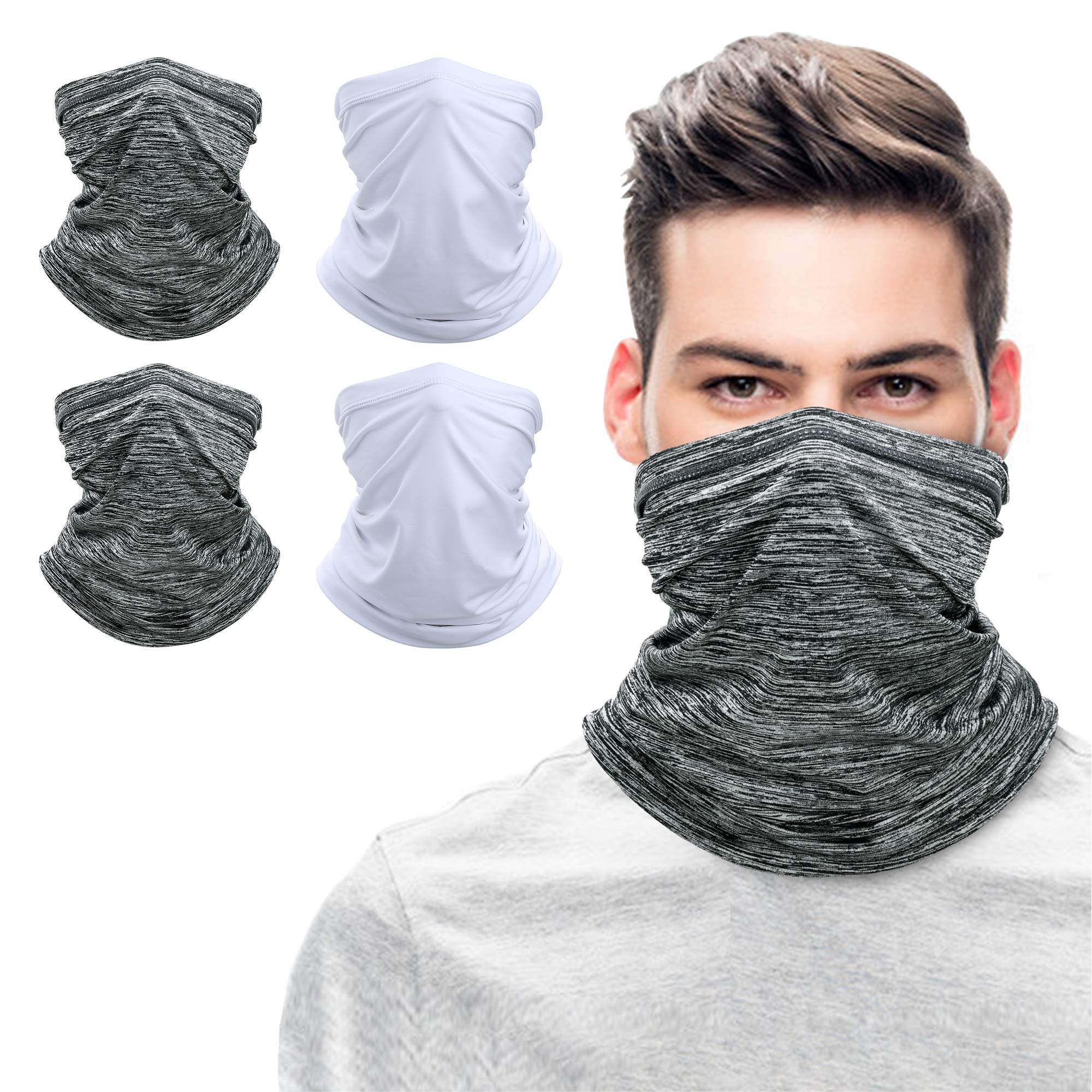 Bandana Face Mask Mouth Mask Bandanas for Men Face Scarf Neck Gaiters for Men Motorcycle Mask Black