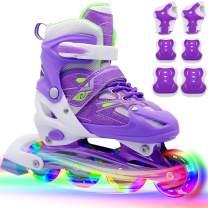 PETUOL Children Inline Skates, Kids Adjustable Roller Skates with Full Wheels Light Up for Girls and Ladies