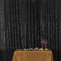 Eternal Beauty Black Sequin Wedding Backdrop Photography Background Party Curtain, 6ft X 6ft