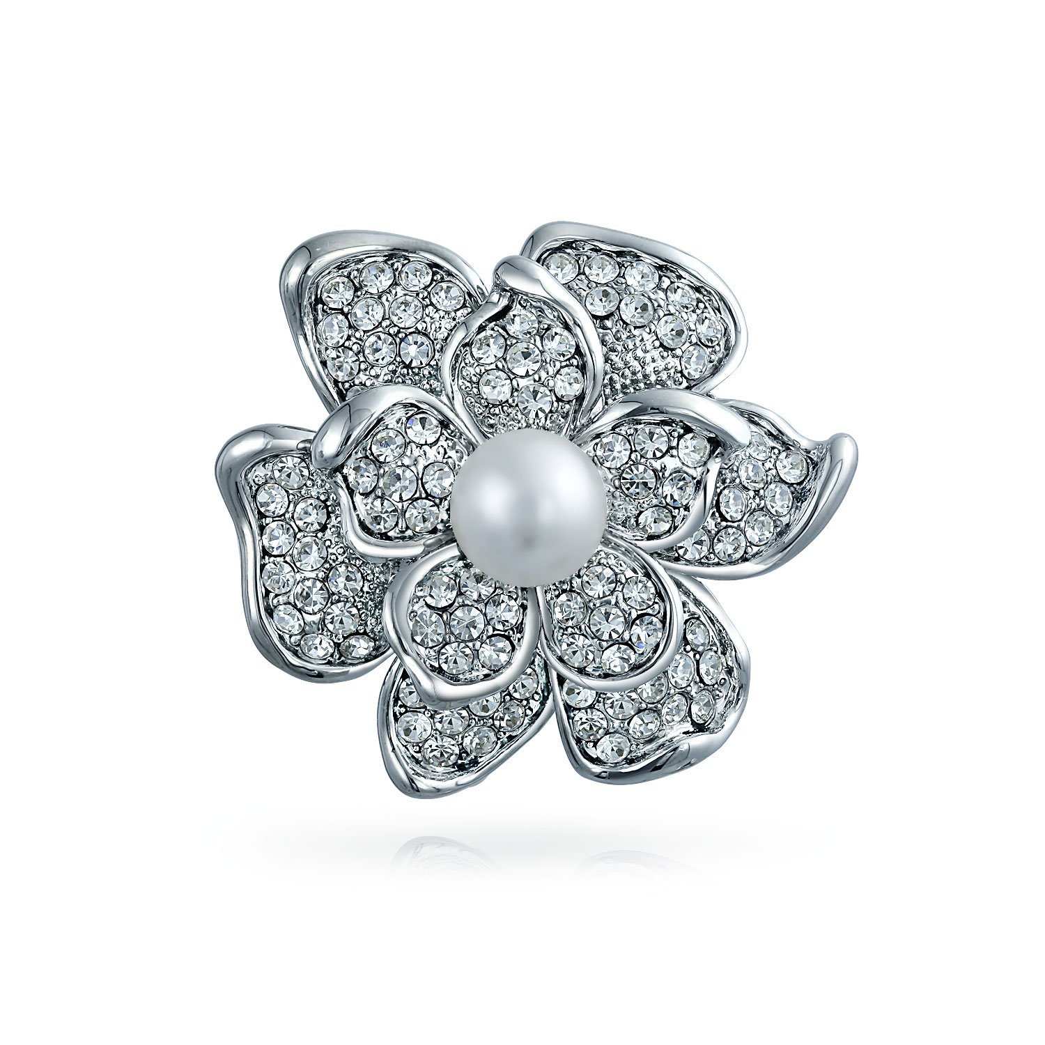Bling Jewelry Bridal Crystal White Fashion Simulated Pearl Large Statement Flower Rose Brooch Pin for Women for Mother Silver Plated