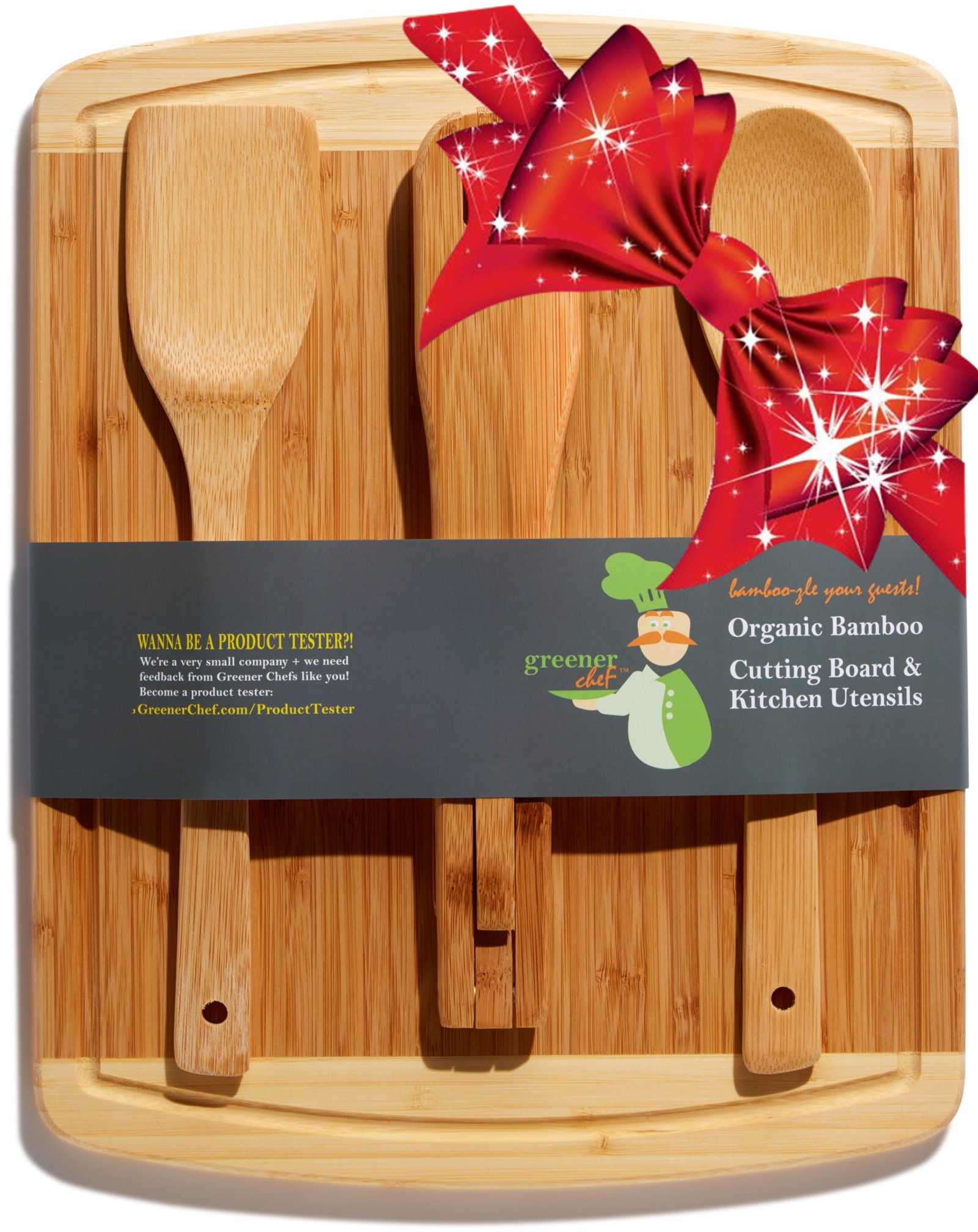 Bamboo Cutting Board Housewarming Gift Set - With Bonus 3-Piece Cooking Utensils - Wooden Spoon, Salad Tongs and Wood Spatula - Mother's Day, Wedding & Kitchen Gadgets Gift Idea