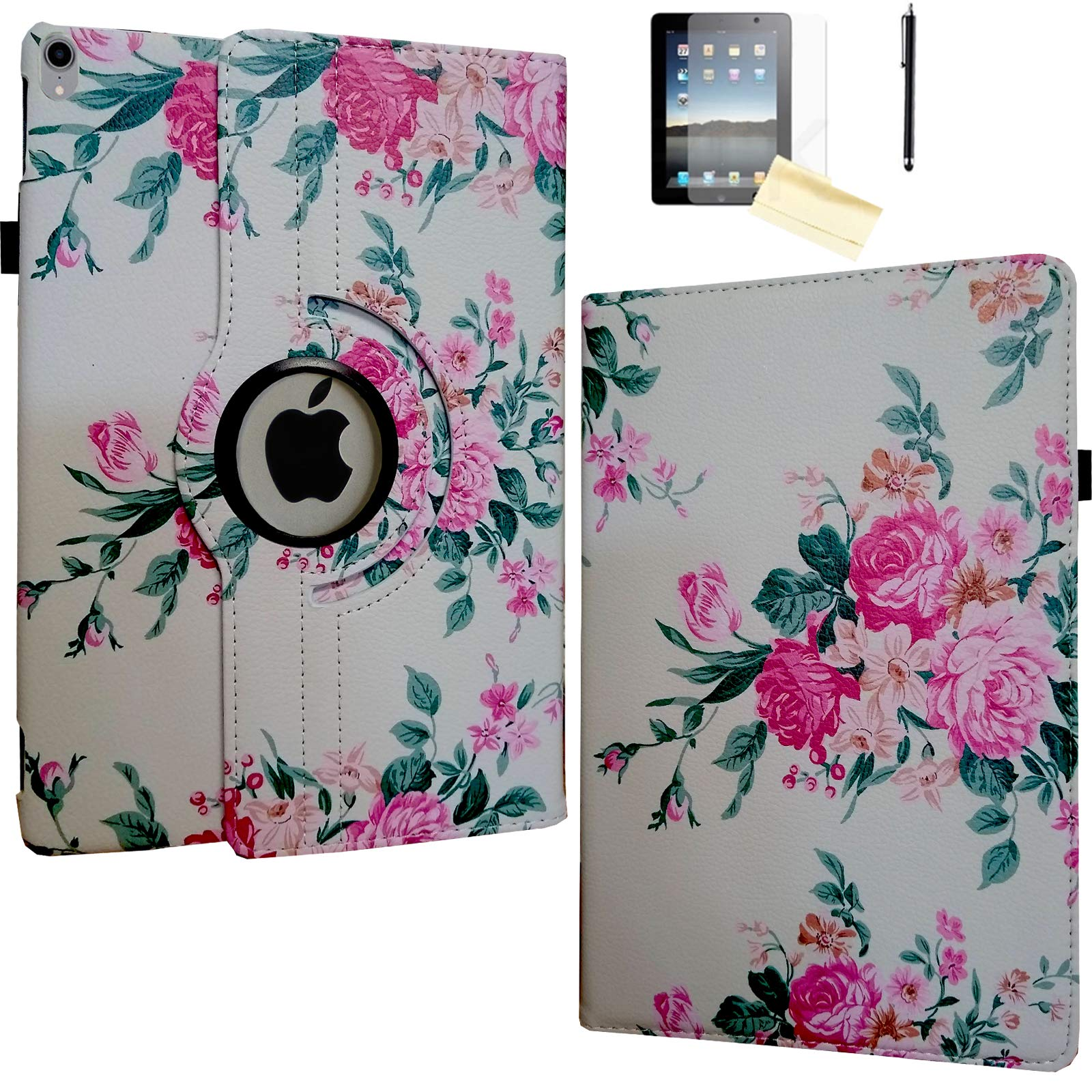 JYtrend Case for 10.5-inch iPad Air 3rd, Rotating Stand Smart Magnetic Auto Wake Up/Sleep Cover for 2019 iPad Air 3 - A2152 A2153 A2154 A2123 MUUQ2LL/A MV172LL/A MV0Q2B/A MV0V2CH/A (Rose Flower)