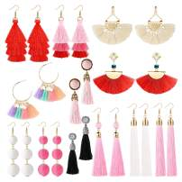 LOYALLOOK 4-12Pairs Statement Tassel Earrings Women Thread Dangle Drop Earring Frige Earrings