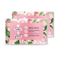 Love Home and Planet Dryer Sheets Rose Petal & Murumuru, 80 Count, Pack of 2