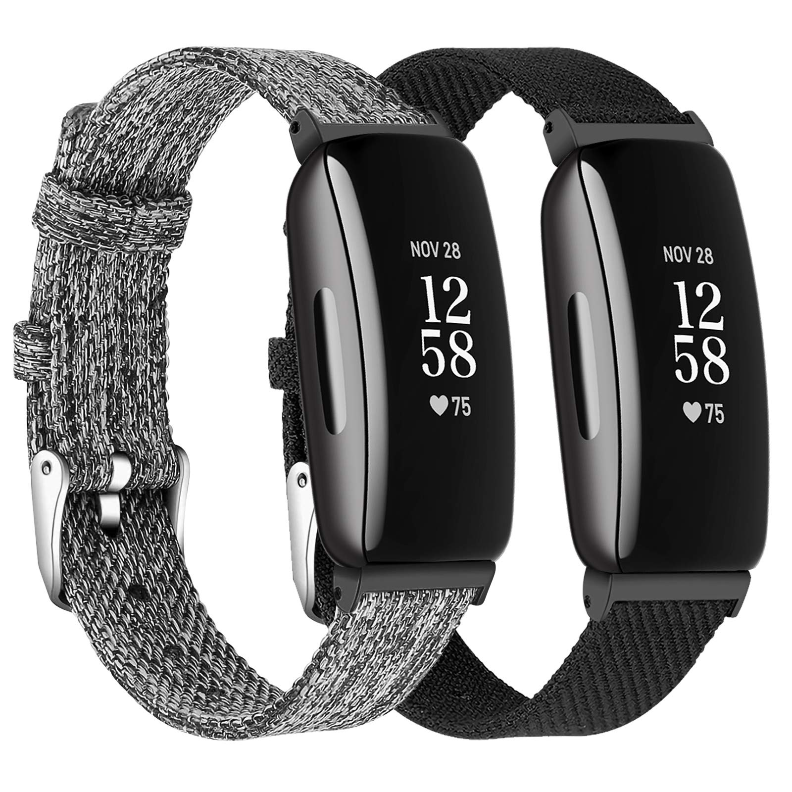 LORDSON Wristband Compatible with Fitbit Inspire 2 & Inspire HR & Inspire Watch Bands, 2-Pack Breathable Woven Fabric Quick Release Replacement Strap Wristbelt for Inspire 2 Fitness Tracker/Ace 2