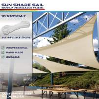 Windscreen4less 10' x 10' x 14.1' Sun Shade Sail Triangle Canopy in Beige with Commercial Grade (3 Year Warranty) Customized