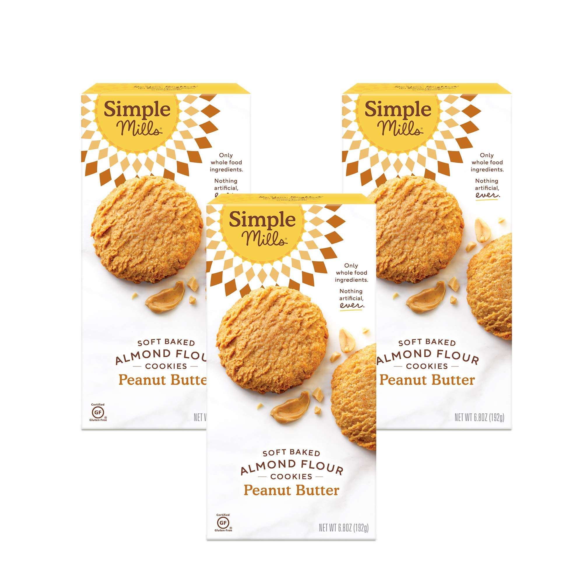 Simple Mills Almond Flour Peanut Butter Cookies, Gluten Free and Delicious Soft Baked Cookies, Organic Coconut Oil, Good for Snacks, Made with whole foods, 3 Count (Packaging May Vary)