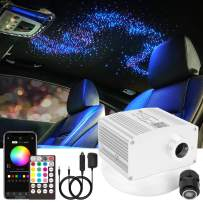 CHINLY 10W Twinkle RGBW Bluetooth APP/Remote LED Fiber Optic Star Ceiling Lights Kit 370pcs 9.8ft Mixed-inch(0.03in+0.04in+0.06in) +Adapter+Cigarette Lighter for Car/Room