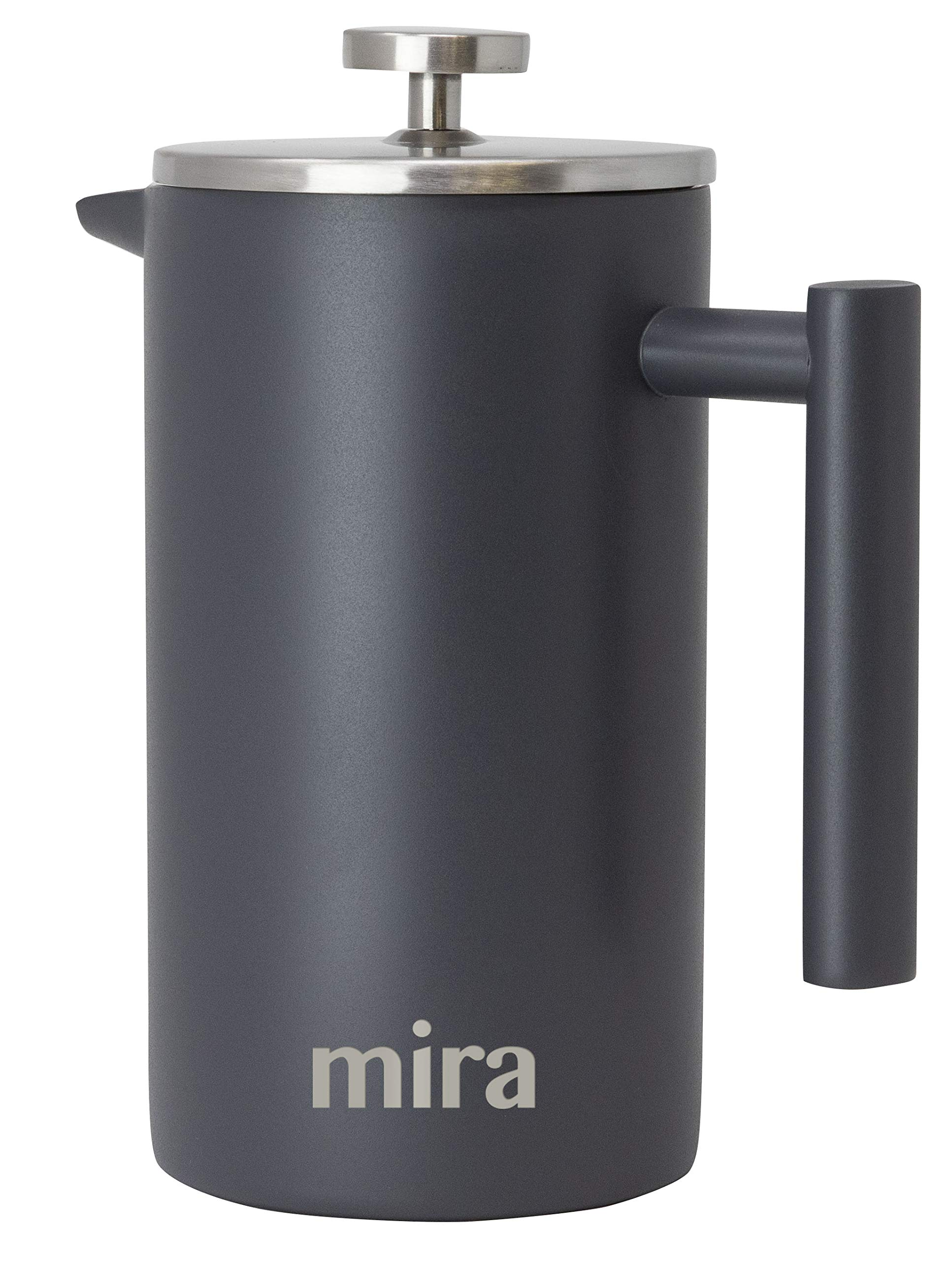 MIRA 34 oz Stainless Steel French Press Coffee Maker with 3 Extra Filters | Double Walled Insulated Coffee & Tea Brewer Pot & Maker | Keeps Brewed Coffee or Tea Hot | 1000 ml (Gray)