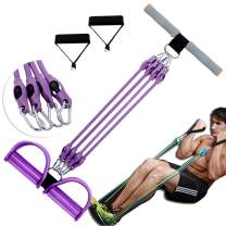 PIN JIAN Multi-Purpose Assemble Pedal Resistance Band Adjustable Weight Exercise Chest Expand Bands 4 Tubes Home Fitness Tension Rope