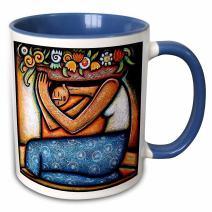 3dRose Flower Girl Mexican Art Colorful-Two Tone Blue Mug, 11 oz, Multicolored
