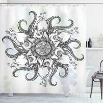 "Ambesonne Octopus Shower Curtain, Trippy Nautical Mandala Abstract Artwork with Tentacle and Floral Elements Design, Cloth Fabric Bathroom Decor Set with Hooks, 75"" Long, Grey White"