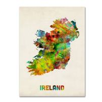 Ireland Watercolor Map by Michael Tompsett, 24x32-Inch Canvas Wall Art