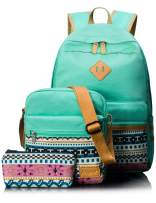 Leaper Canvas Laptop Bag School Backpack Shoulder Bag Purse Pen case Water Blue