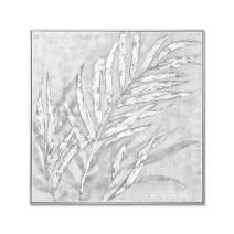 MOTINI Abstract 'Silver Leaves' Oil Painting Hand-Painted Framed Modern Wall Art for Living Room Artwork for Wall Decor