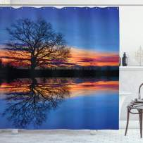 """Ambesonne Panorama Shower Curtain, Tree Against Sunset View at Night with Sky Reflection Over The Lake Print, Cloth Fabric Bathroom Decor Set with Hooks, 70"""" Long, Blue Orange"""