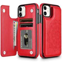 HianDier Wallet Case for iPhone 11 6.1-inch Slim Protective Case with Credit Card Slot Holder Flip Folio Soft PU Leather Magnetic Closure Cover for 2019 iPhone 11 iPhone XI, Mandala Red
