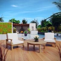 Modway EEI-1475-NAT-WHI-SET Marina Premium Grade A Teak Wood Outdoor Patio Furniture Set, 3 Piece, Natural White