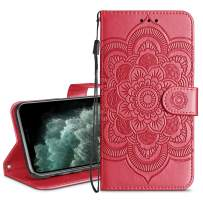 HianDier Wallet Case for iPhone 11 Pro Max Card Holder Case Kickstand Flip Cover Embossed Mandala Flower Lanyard Protective Soft PU Leather Cover Case for 2019 Release iPhone 11 Pro Max, Red