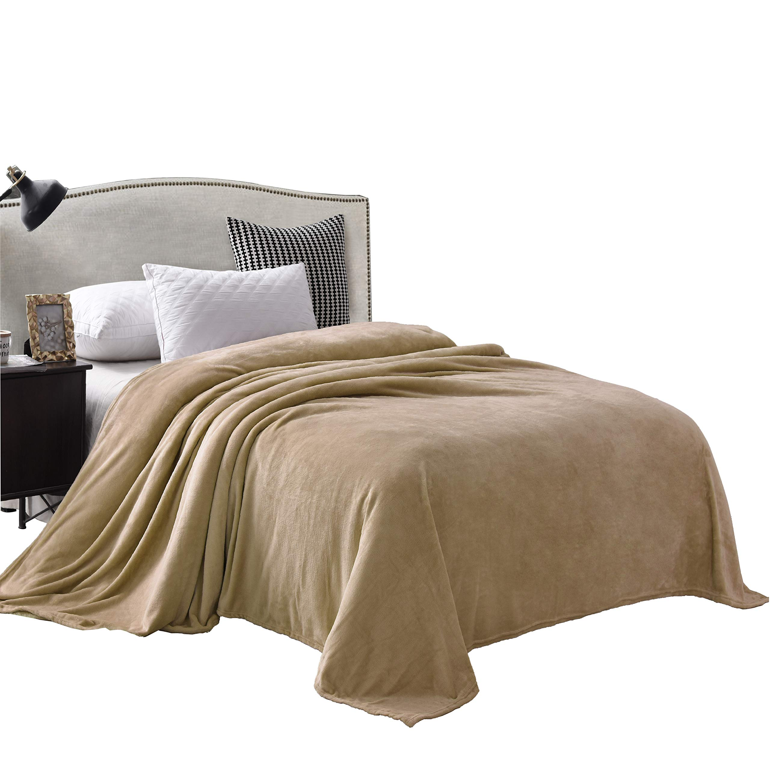 """Exclusivo Mezcla Twin Size Flannel Fleece Velvet Plush Bed Blanket as Bedspread/Coverlet/Bed Cover (90"""" x 66"""", Camel) - Soft, Lightweight, Warm and Cozy"""