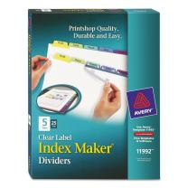 Avery 5-Tab Binder Dividers, Easy Print & Apply Clear Label Strip, Index Maker, Pastel Tabs, 25 Sets (11992)