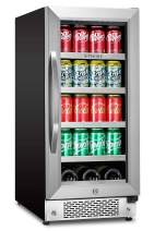 Sipmore Beverage Refrigerator 15 inch Stainless Steel Shelf 88 Can and 3 Bottle Built-in or Freestanding for Soda Beer, Powerful Drink with Smart Control System and Double-Layer Glass Door