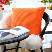 "Decorative Throw Pillow Covers 20""x20"" (No Insert),Solid Cozy Corduroy Corn Accent Square Pillow Case Sham,Soft Velvet Large Cushion Covers with Hidden Zipper for Couch/Sofa/Bedroom,Neon Orange"