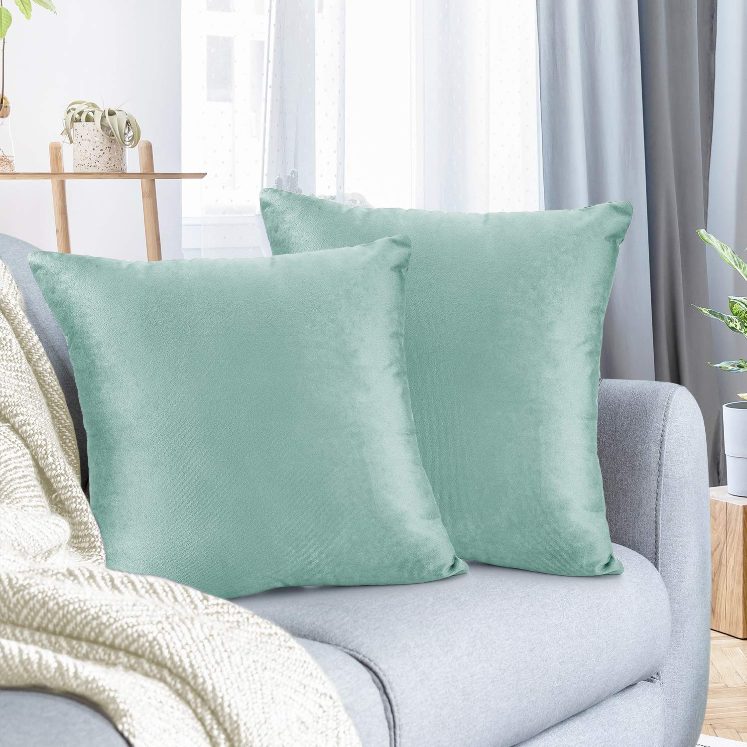 """Nestl Bedding Throw Pillow Cover 26"""" x 26"""" Soft Square Decorative Throw Pillow Covers Cozy Velvet Cushion Case for Sofa Couch Bedroom, Set of 2, Mint"""