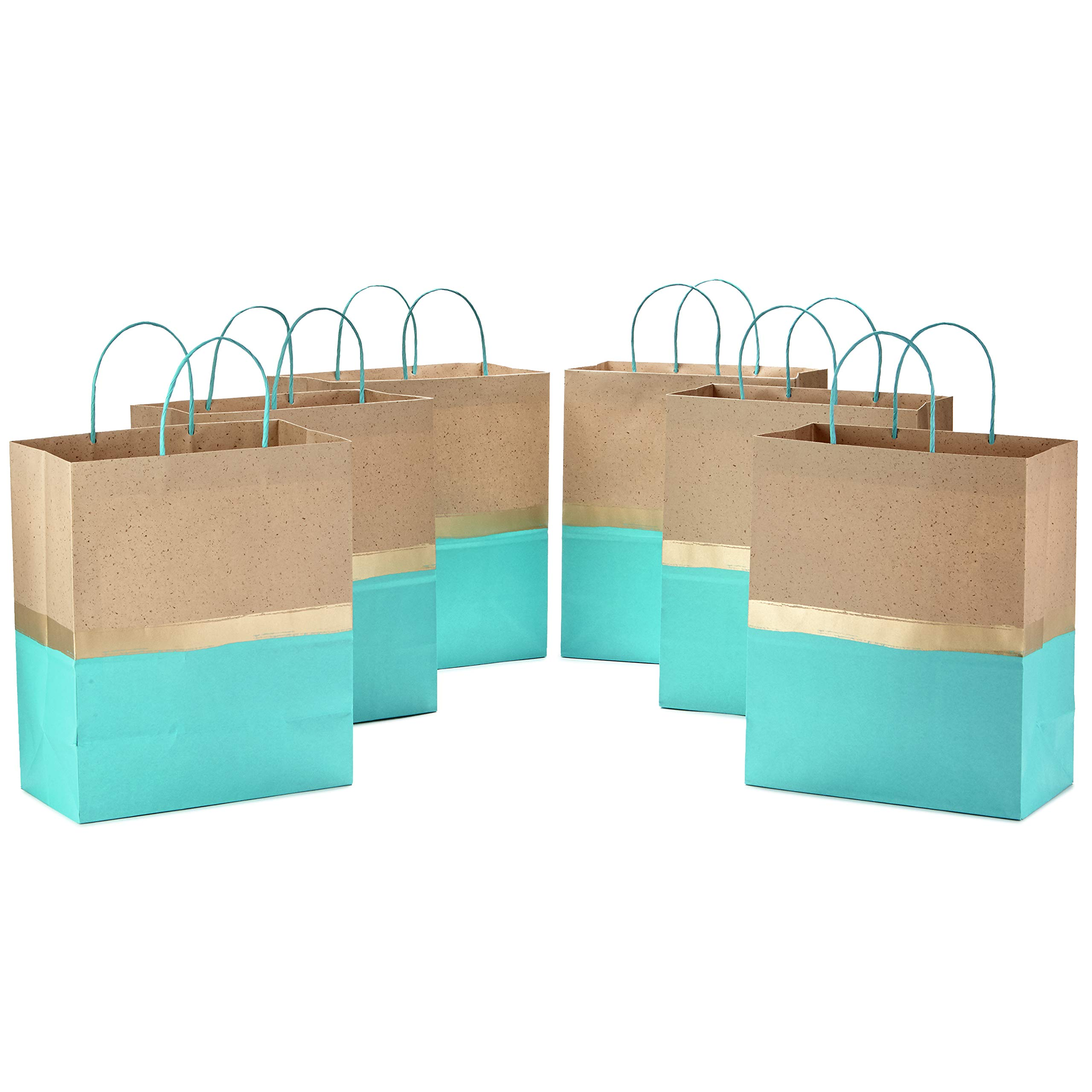"""Hallmark 13"""" Large Paper Gift Bags (Pack of 6 - Turquoise & Kraft) for Birthdays, Easter, Weddings, Mother's Day, Baby Showers, Bridal Showers or Any Occasion"""