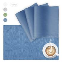 VCVCOO Cloth Placemats Set of 4 Washable, Reversible Placemat for Dining Table,Cute Blue Herringbone Polyester Place Mats Heat-Resisting Kitchen Table Mats