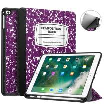 Fintie Case with Built-in Pencil Holder for iPad 9.7 2018 2017 / iPad Air 2 / iPad Air - [SlimShell] Lightweight Soft TPU Back Protective Cover w/Auto Wake Sleep, Composition Book Purple
