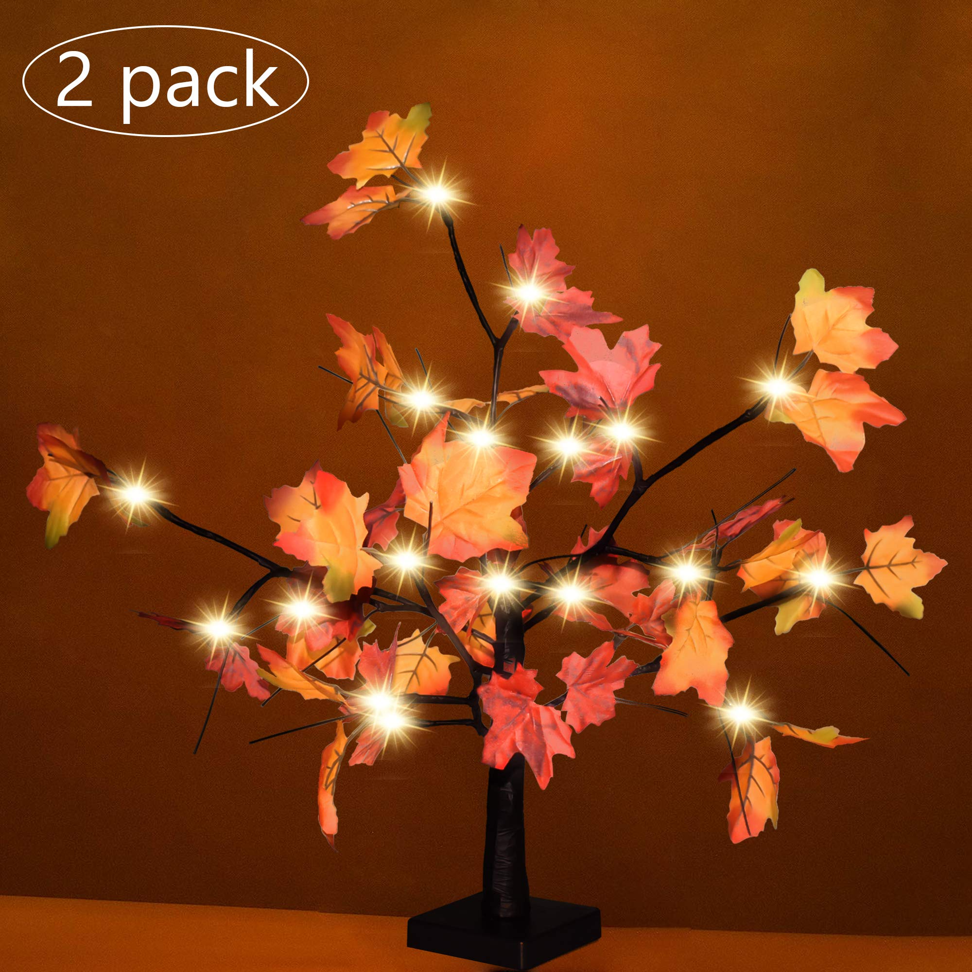 """Risunpet 2 Pack Maple Tree Lights, Lighted Maple Tree with 100pcs Maple Leaves, Fall Tree Decoration 23"""" 24 LED Battery Operated Table Lights for Thanksgiving Christmas Party Gift"""