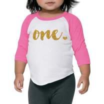 1st Birthday Girl Outfit One Year Old Pink Raglan Birthday Shirt