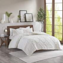 """Madison Park Pacey Tufted Chenille 100% Cotton Duvet, Geometric Shabby Chic Cozy All Season Comforter Cover Bed Set with Matching Shams, Full/Queen(90""""x90""""), White 3 Piece"""