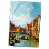 "3D Rose The Grand Canal and The Church of The Salute by Canaletto 1730-Venice Italy Italian Gondola Boats Towel, 15"" x 22"", Multicolor"