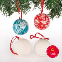 Baker Ross Make Your Own Bauble, Ceramic Christmas Arts and Crafts for Kids to Decorate and Personalise (Pack of 4)
