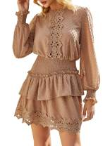 Miessial Women's Summer V Neck Chiffon Ruffle Mini Dress Elegant Tie Waist Short Sundress