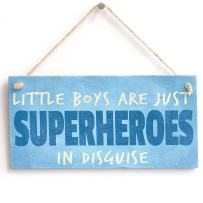 """Meijiafei 'Little Boys are Just Superheroes in Disguise' Gift for Son/Nephew - PVC Door Sign/Plaque 10""""x5"""""""