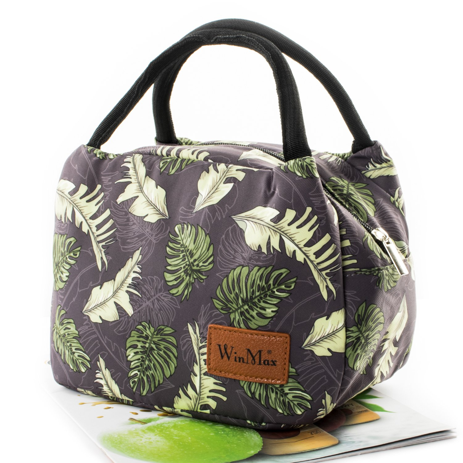 Fashionable Lunch Box for Women Insulated Cute Lunch Bag Girls - Pink/Heart/Colour stripe (Coconut leaf)