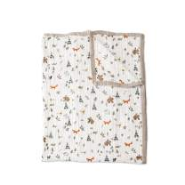 """Little Unicorn Extra Soft Cotton Muslin Large Quilt Blanket – 60""""x 72""""- 100% Cotton – Machine Washable – Playful Designs - 4 Lightweight, Breathable Layers – for Boys & Girls (Forest Friends)"""